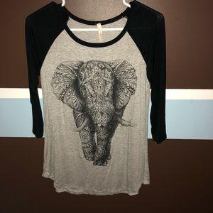 Tops - Three quarter sleeve elephant shirt